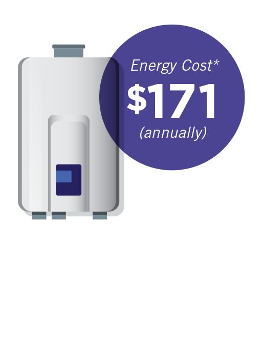 Tankless natural gas water heater:  energy cost $171 annually
