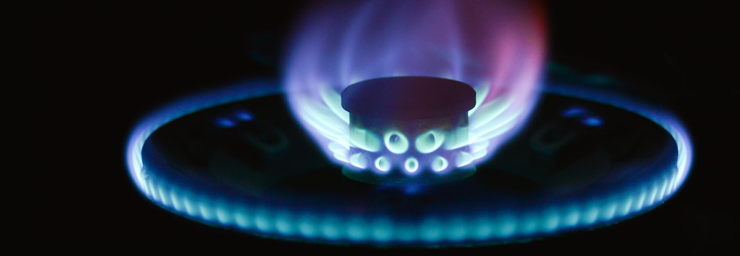 a natural gas burner, lit